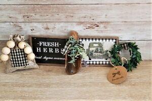 Mini Herb 5 piece Sign Set / Tiered Tray Bowl Gift Set Filler / Farmhouse