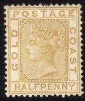 Gold Coast 1876 olive-yellow 1/2d mint crown CC perf 14 SG4