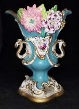 Antique Coalport Coalbrookdale Vase Large 1830 with Applied Flowers Hand Painted
