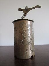 Vintage Brass Shell Trench Art Risque Nude Couple Carving Philippines Signed
