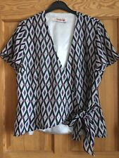 Kaleidoscope Ladies Grey Black Lilac Chiffon Crossover Tie Front Blouse Top 14