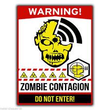 Warning Zombie focolaio di contagio muro in metallo Firmare / Placca divertente umoristico POSTER