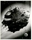 GLO8 Original Globe Photo OUTER SPACE CITY ON ASTEROID Sci-Fi Art Illustration