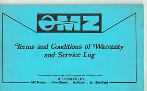 MZ Motorcycle Warranty and service log