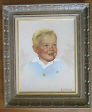 "Vintage L Williams ""Young Blonde Boy"" Oil On Canvas - Framed/Signed"