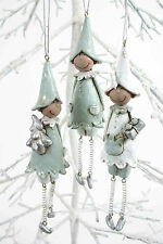 SET OF 3 SILVER AND WHITE CHRISTMAS ELVES HANGING TREE DECORATIONS