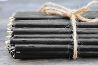 50 St. Schwarze Bienenwachs dünne Kerzen Ritualkerzen 18,5cm N80 Черные свечи