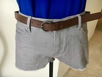 Forever 21 Mid Rise Gray Belted Cut Off Shorts Size 30 NEW WITH TAGS