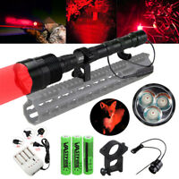 VastFire 6000LM 3x Q5 RED LED Flashlight Torch Hunting Clamping Light 18650BY