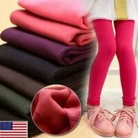 Kids Girls Winter Cotton Warm Leggings Thermal Fleece Pants Age1-13 Trousers MAL