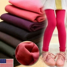 US Kids Girls Winter Cotton Warm Leggings Thermal Fleece Pants Age 1-13 Trousers