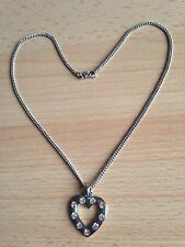 Lovely Diamante Clear Crystal Silver Plated Heart Pendant Necklace