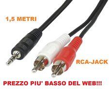 CAVO AUDIO STEREO JACK 3,5 mm a 2 x RCA MASCHIO 1,5 mt metri ADATTATORE CABLE