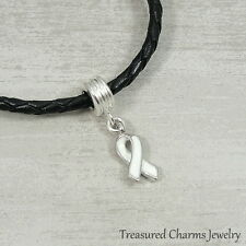 White Awareness Ribbon Dangle Bead Charm - Fits European Bracelets NEW