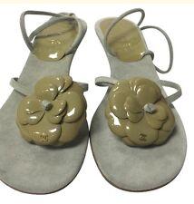 Chanel Sandal Olive Camellia Flower Size 39 Kitten Heel NEW