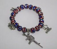 Patriotic Marine Wife Charm Bracelet - Military Wife July 4th