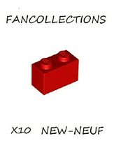 LEGO- X10  Red Brick 1 x 2    ,3004 NEUF