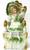 Vintage Porcelain Victorian Girl Sitting On A Chair Figurine