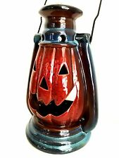 Stoneware Jack-O-Lantern Halloween Pumpkin Candle Holder Lantern 10 inches Tall