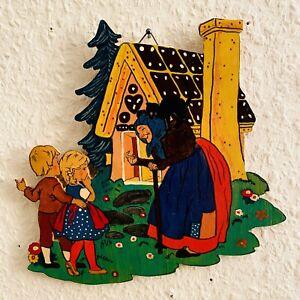 🎁 1960er Laubsägearbeit 20x20 Graupner Graubele Hexen-Haus Figur Bild Deko ALT