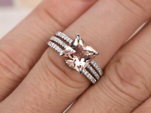 3Ct Princess Cut Morganite 14k White Gold Over Curved Engagement Trio Ring Set