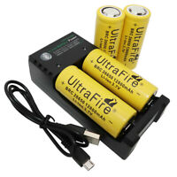 4X 26650 Li-ion Battery 12800mAh 3.7V Rechargeable BRC and USB Charger for Torch