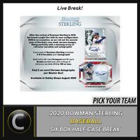 2020 BOWMAN STERLING BASEBALL 6 BOX (HALF CASE) BREAK #A914 - PICK YOUR TEAM