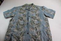 Royal Creations Made Hawaii Blue Gray Floral Pocket Hawaiian CAMP SIHRT Large L