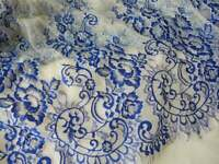 1yd Lace Fabric Romantic French Chantilly Lace Royal Blue Embroidery Lace Fabric