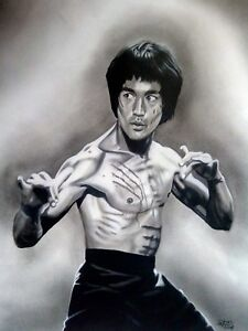 "Bruce Lee  ART original charcoal and graphite drawing 25""x19"""