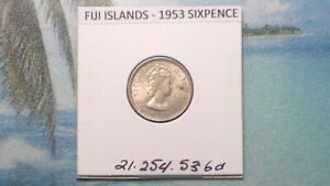 FIJI ISLANDS - 1953  SIXPENCE - COLONIAL ERA - PREDECIMAL COIN. Copper/Nickel.