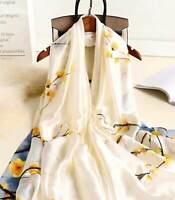 Echarpe-Foulard-Châle,Cadeau Femme,100%Soie,Blanche-Multicolore,Élégant,ChicMode