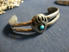 Silver Old Pawn Chunky Bracelet Zuni Native American Turquoise Sterling