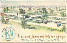 Howard Johnson's Motor Lodge Rocky Mount NC Artist Walter Bowers Postcard