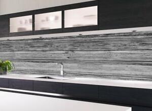 Küchennischen Deko Küchenrückwand Spritzschutz Wandschutz HOLZ Planken GRAU 68