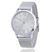 Women Ladies Silver Stainless Steel Mesh Band Wrist Watch C