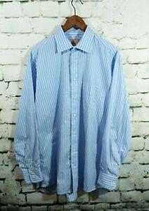 Gitman Bros Men blue striped shirt button up cotton size 16.5