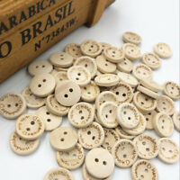 50/100 pcs Nature Wood Sewing Buttons 2 Holes Scrapbook Handmade Button WB389