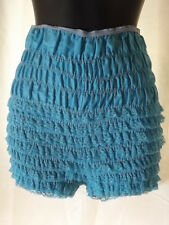 Vtg 60s TURQUOISE RUCHED LACE RUFFLED PETTIPANTS M Sissy Frilly Panties Bloomers