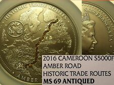 Cameroon 2016 5,000 Francs NGC MS-69 Antiqued~Amber Road~5oz~500 Minted~RARE~P=1