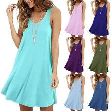 Women Sleeveless T Shirt Solid Casual Slip Dress Size Plus Tank Dress Sundress