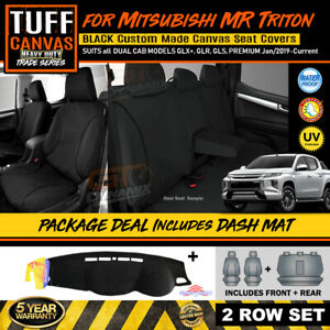 BLACK TUFF HD TRADE Canvas Seat Covers + Dash Mat Triton MR Dual Cab 1/2019-2020