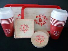 110 Pc Merry & Bright Holiday Party Pack Serving Set Paper Cups Napkins Coasters