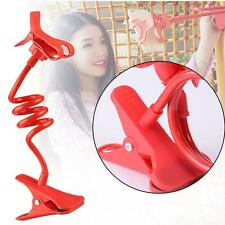 1x Lazy Mount Double V Clip Cell Phone Holder Clamp Flexible Goose neck Red
