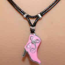 Collier pendentif bottine rose cordon noir - strass - pink cowboy boot necklace