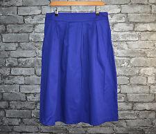 Women's Elegant Royal Blue Pleated Cotton Midi Skirt Office Work Uk Size 10