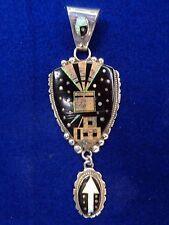 Navajo Pendant Ray Jack Sky Scene Stones Sterling Silver