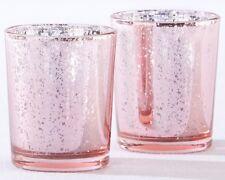 96 Light Pink Mercury Glass Tea Light Holder Wedding or Baby Shower Gift Favors