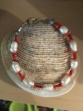 White freshwater pearl and red coral bracelet with gold lobster clasp