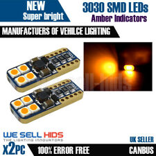 2x T10 W5W 501 3030 8 SMD BRIGHT AMBER BULBS CANBUS INDICATOR SIDE REPEATORS